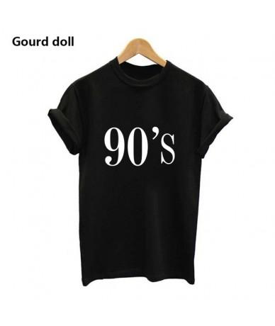 90 tshirt women harajuku ulzzang Punk Cartoon Letter Print top Tee Shirt Round neck Femme Casual tops tumblr - 90 balck - 44...
