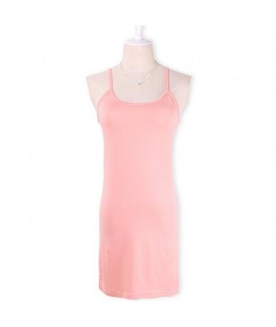 2018 New Women Stretchy Camisole Spaghetti Strap Long Tank Top Mini short dress Summer Casual Sexy Slip Vest Female - light...
