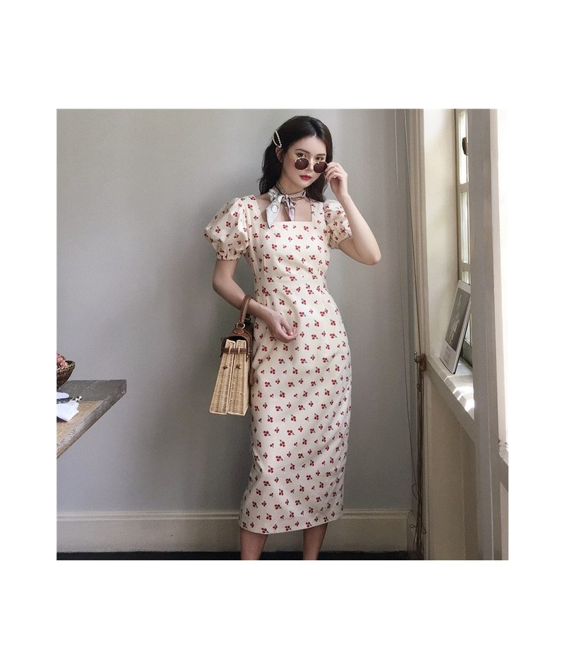 Short Sleeve printe Party Dress Straight Fashion Elegant Casual Vintage Women Summer 2019 French style Dress - White - 49411...