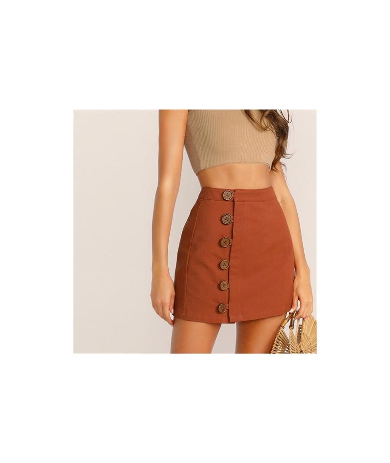 Button Front Skirt Korean Style Brown High Waist A Line Skirt 2019 Spring Summer Women Mini Skirt - Brown - 4N4125008034