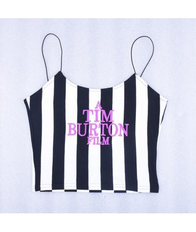 2018 summer women fashion straps stripe letters Embroidery sexy crop tops - 4R3058746596