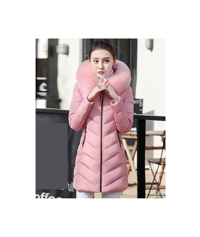 M-3XL long parka Women Big fur collar Hooded Down Jacket Warm Winter Coat Slim Thicken Parker Cotton Outerwear Ladie1010 - P...