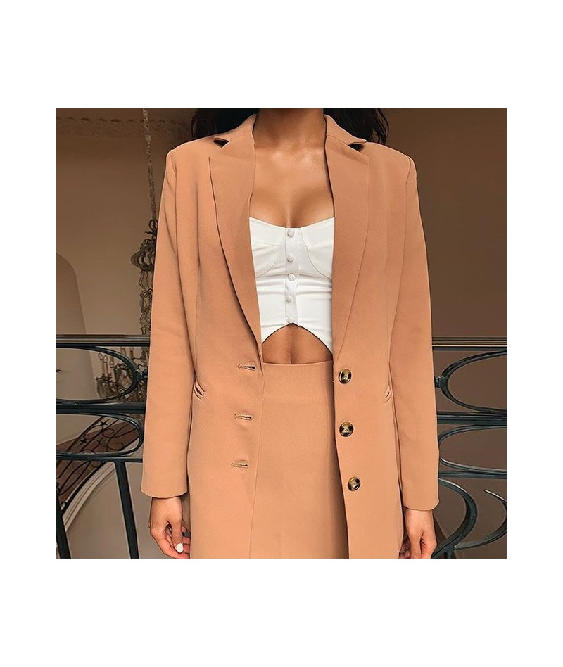 Autumn Women Blazer Hot Sale Fashion Long Sleeve Single Breasted Business Office Lady Khaki Jacket Coats WDC3468 - Picture -...