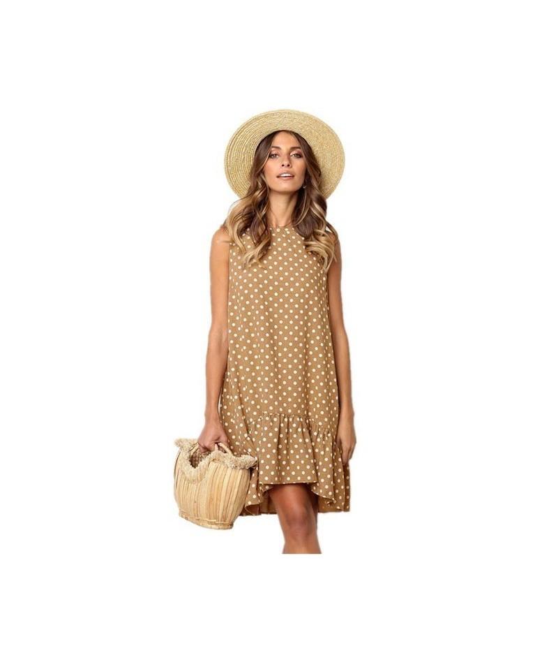 Wave Point Dress Ruffled O Neck sleeveless Mini Women Dresses 2019 summer Sundress Fashion Transparent Thin Beach Party vest...