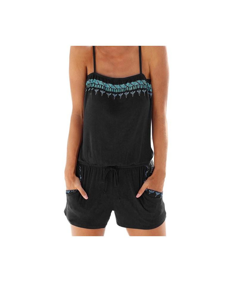 Elegant Womens Holiday Casual Mini Playsuit Ladies Jumpsuit Summer Beach Rompers Hot Sale D1335 - Black - 32864150207