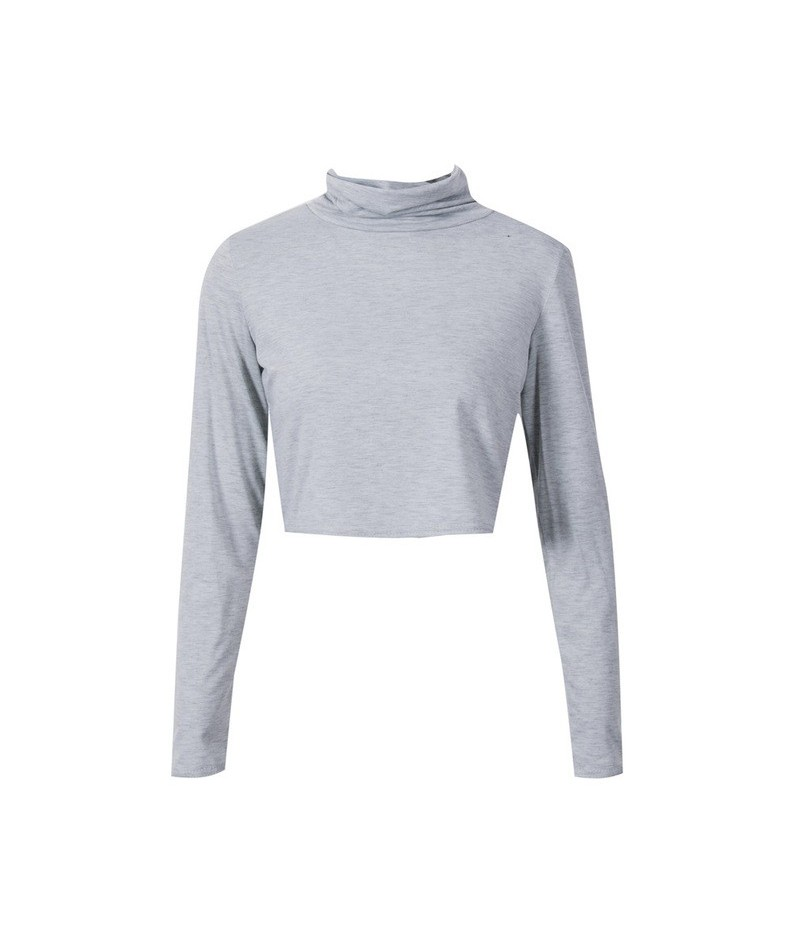 Tops Women turtleneck Long Sleeve Clothing Crop Tops Feminine black Knitted Cropped Tops for Girl T Shirt Pullover Crop Tops...