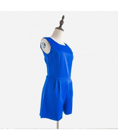 Summer Royal Blue Jumpsuit Women Sleeveless Rompers No Belt Playsuit Overalls Real Photo macacao feminino S5435 - Blue no be...