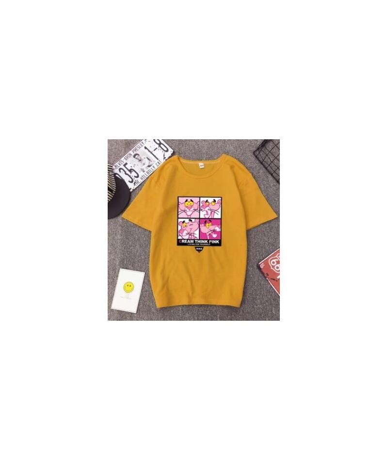 High Quality T shirt Woman Spring Summer Fashion Print Short Sleeve Round Neck Women Tops Casual Loose T-shirt Femme - Yello...