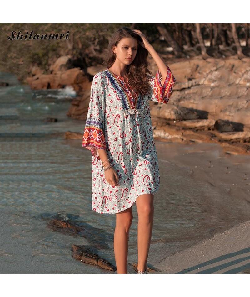 Boho Short Dress 2019 Fashion Long Sleeve Loose Printed One Piece V Neck Female Casual Summer Beach Holiday Ethnic Dresses -...