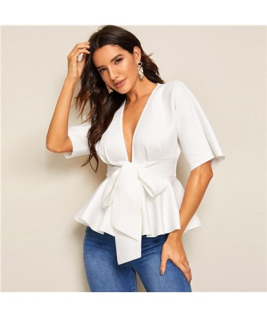 Plunge Neck Tie Waist Peplum Top White Solid Slim Fit Womens Tops and Blouses Sexy Deep V Neck Summer Short Sleeve Blouse - ...