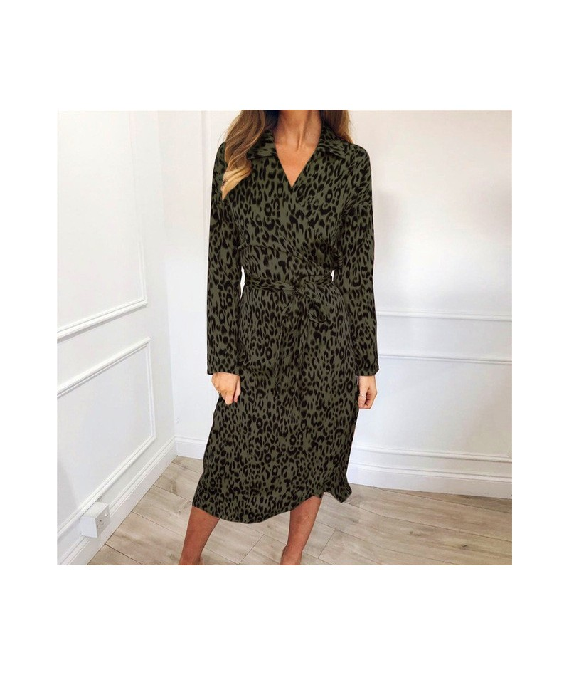 Summer Chiffon Dress 2019 Fashion Animal Leopard Print Women Dress Elegant Ladies Turn-down Collar Dresses Slim Party Vestid...