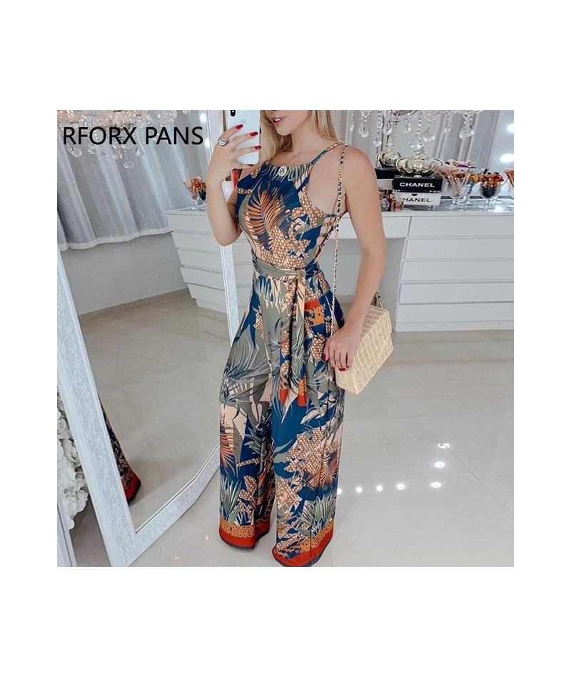 Sleeveless Tropical Print Spaghetti Strap Jumpsuit - Blue - 4Q4129088618