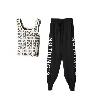 New 2019 Women Summer Knit Tracksuit Print Letters Tank Tops + Casual Ankle-Length Pants Sets Knitting Vest Crop Top 2 PCS S...