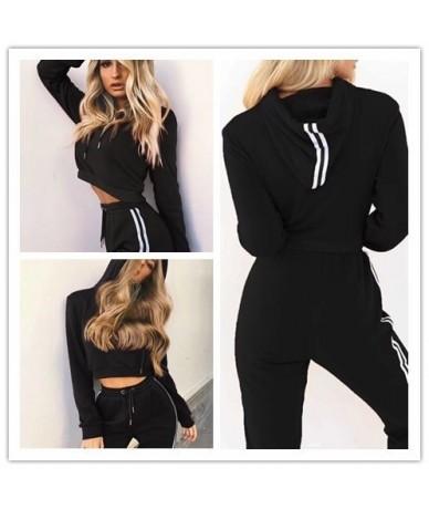 2019 Tracksuit 2pcs Women Set Training Crop Top Sweatshirt+Side Stripe Pants 2 Pieces Sets Women Clothing Suits Female - Pin...