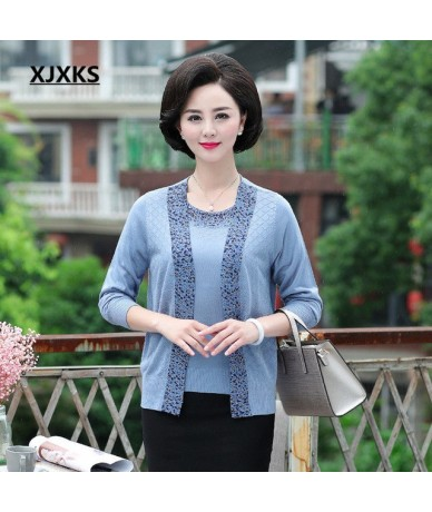 Women true two-piece knit cardigan + short-sleeved tops 2018 autumn new fashion beaded loose large size women cardigan - Sky...