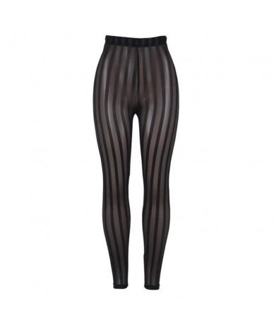 Summer Sexy Club Punk Gothic Black Push Up Women Leggings Gray Slim Stripe Mesh Goth Leggins Thin Female Fashion Casual Pant...