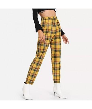 Women Spring Plaid Pants High Waist Female Loose Long Sports Pants Casual Retro Lady Fashion Harem Pants women - D Style - 4...