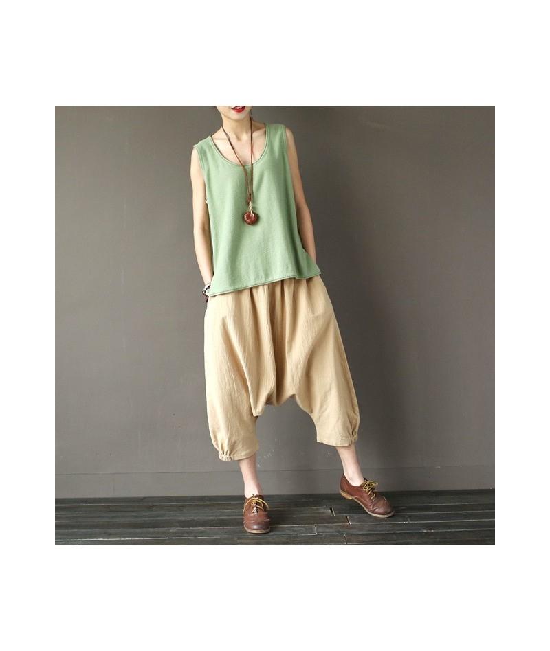 2019 Summer Women Cross-Pants 8 Colors Cotton Linen Vintage Loose Hip-hop Calf-length Elastic Waist Pants - Khaki - 4X380251...