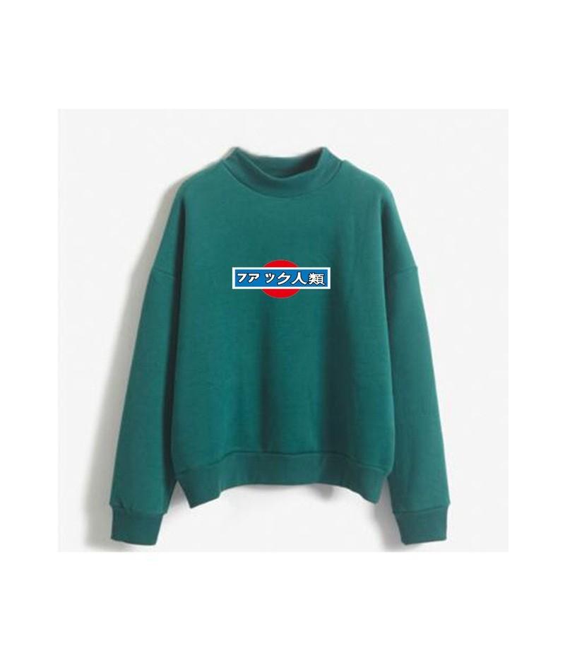 Women Sweatshirt Autumn And Winter Fashion College Wind Hooded Anti Human Trafficking Fleece Turtleneck Pullover Hoodies - G...