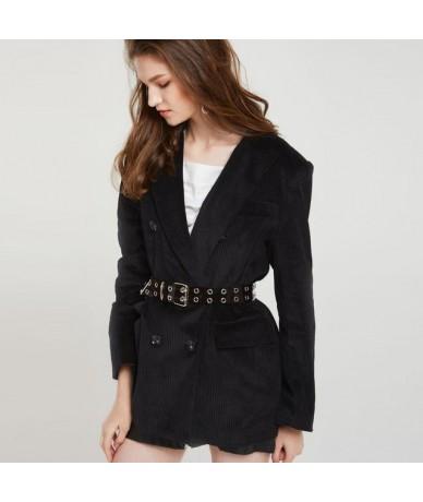 Autumn Winter Corduroy Wide Leg Pants Office Trousers Casual flat Mid solid women pants streetwear female pants - Black Blaz...