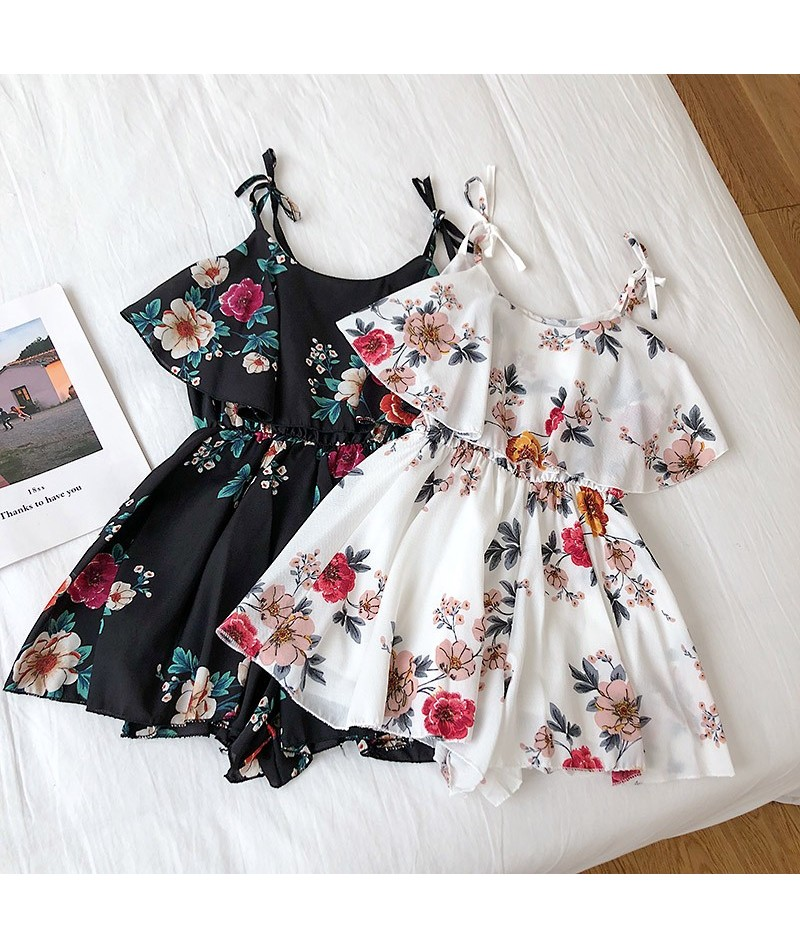 Floral Print Cut Out Romper 2019 Fashion Summer Mid Waist Womens Romper Hollow Out Sleeveless V Neck Sexy Romper Ruffles - B...
