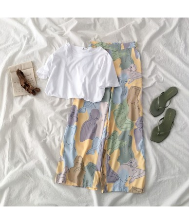 Beach Vintage Long Pant Set Women Fashion White Short Sleeve T-shirt +Colorful High Waist Wide Leg Trouser Summer Two Piece ...