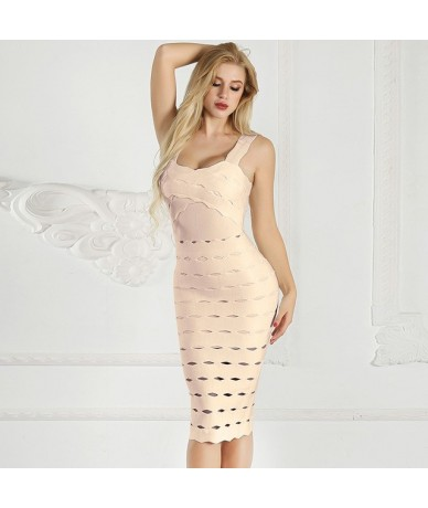 Spaghetti Strap Dresses Women Summer 2019 White Bandage Bodycon Midi Dress With Open Back Hollow Out Night Club Party Dress ...