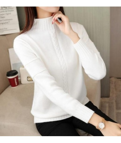 2018 Autumn and Winter Fashion Slim Warm Thick Turtleneck Women Solid Slim Long Sleeve Knit Sweater LJ0578 - White - 4Q30162...