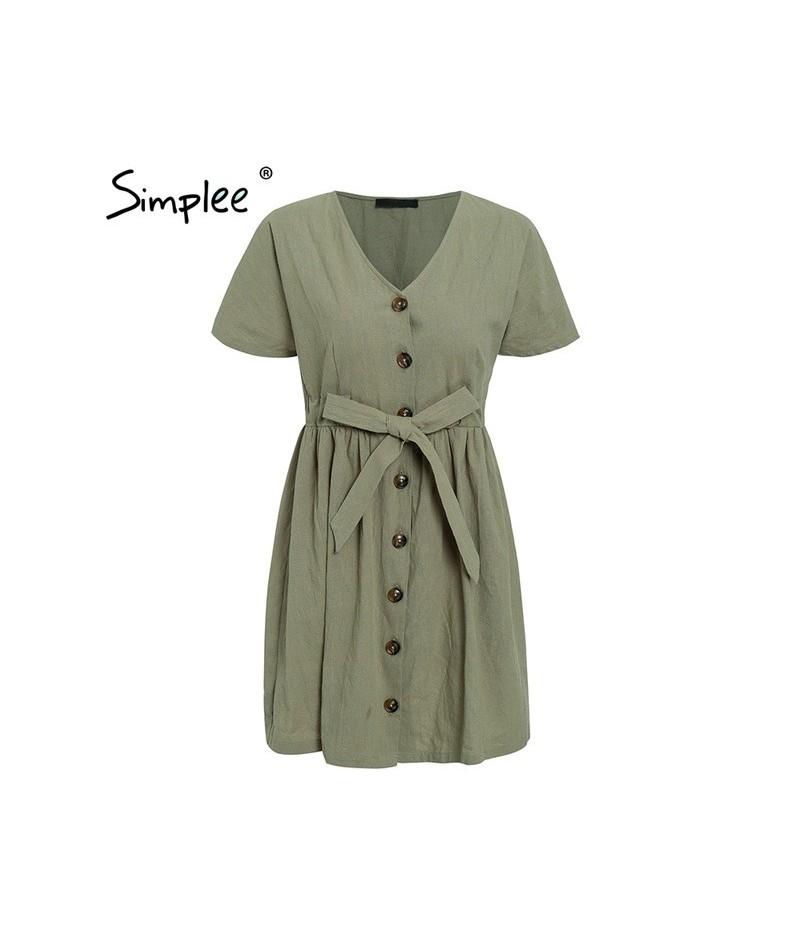 Vintage button women dress shirt V neck short sleeve cotton linen short summer dresses Casual korean vestidos 2019 festa - G...