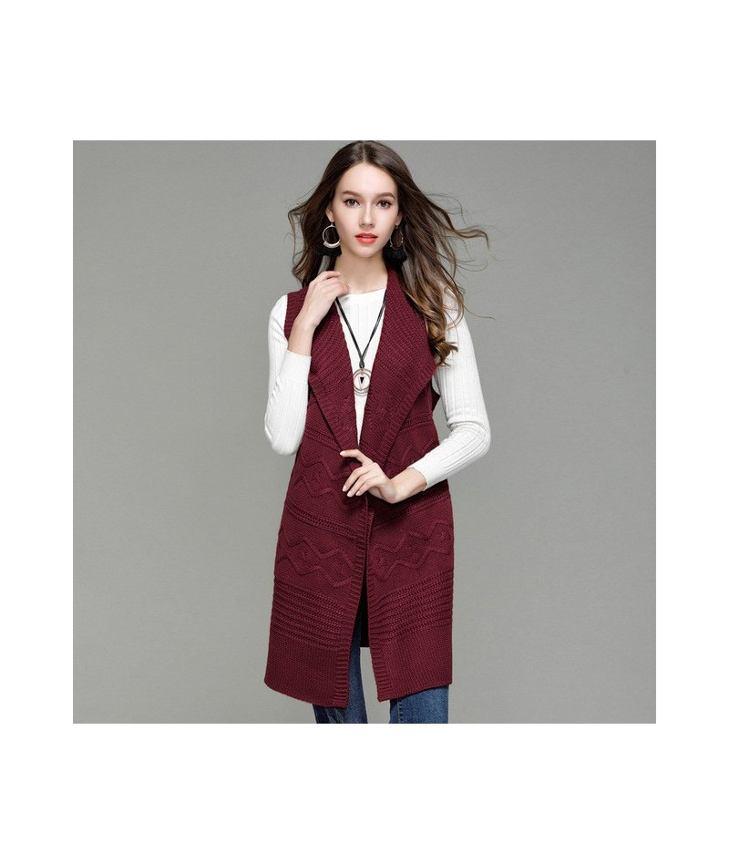 New Fashion Women's Clothing Knit Vest Women Long Cardigans Sweater Turn-down Collar Belt Sleeveless Coat Tops Outwear - win...