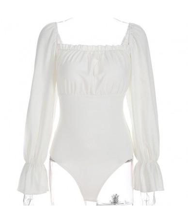 Women Bodysuit Bodycon Jumpsuit Romper Leotard Tops Blouse Playsuit Long Sleeve Off Shoulder Flare Sleeve Bodysuti Rompers 2...