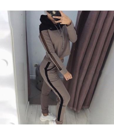Women Casual Long Sleeve Hoodie Tops W/ Pants Sportswear Suit Stretch Leggings - Coffee - 5Z111223650896-4