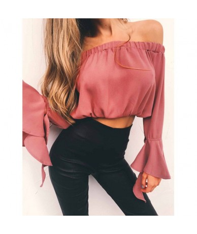 New Fashion Women's Sexy Off Shoulder Crop Tops Summer Casual Loose Tops T-shirt Sexy Street Wear 2018 Hot Sale - Pink - 433...