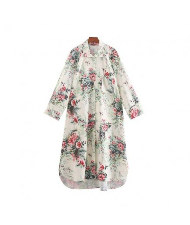 women floral print mid calf dress long sleeve pocket design female casual vintage midi dresses vestidos mujer QC430 - as pic...