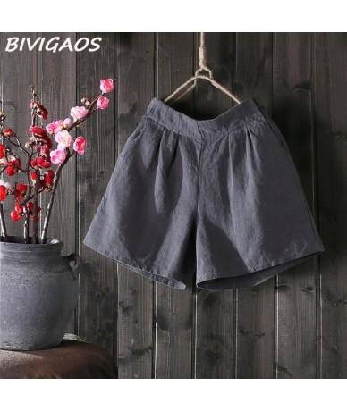 New Womens Summer Loose Cotton Linen Shorts Femme Elastic High Waist Wide Leg Short Shorts Casual Short Fashion - Dark Grey ...