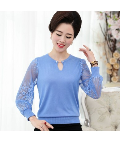 New Fashion Women Autumn Spring Lace Long-Sleeve Basic Shirt Mother Clothing Female V-Neck Knitted Sweater And Pullover - Bl...