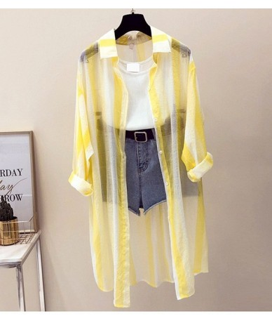 New Long Sleeve Striped Beach Kimono Women Summer Autumn 2018 Long Blouse Thin Sun Cover Up Casual Loose Shirts Cardigan Fem...