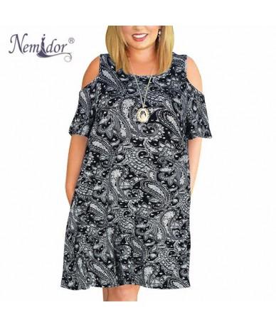 Women Casual O-neck Off The Shoulder Midi Plus Size Summer Dress Short Sleeve Loose Vintage Dress With Pockets - black cashe...