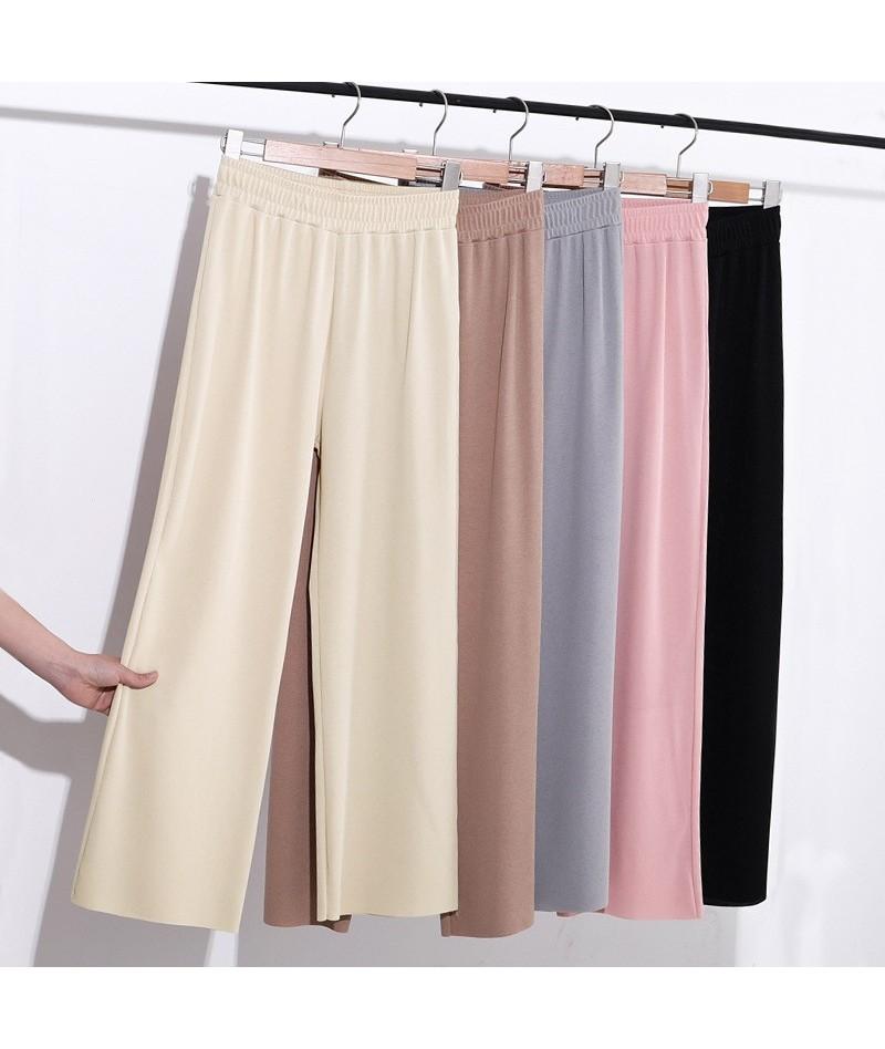 Ice silk wide-legged women Long pants new straight tall waist loose women summer slacks narrow pant girl - Khaki - 404138034...
