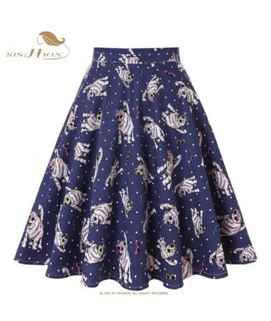 Polka Dots Skirts 2019 High Waist Elegant Cotton Blue Glasses Cats Print Vintage Women Summer Skirt Plus Size VD0020 - Blue ...