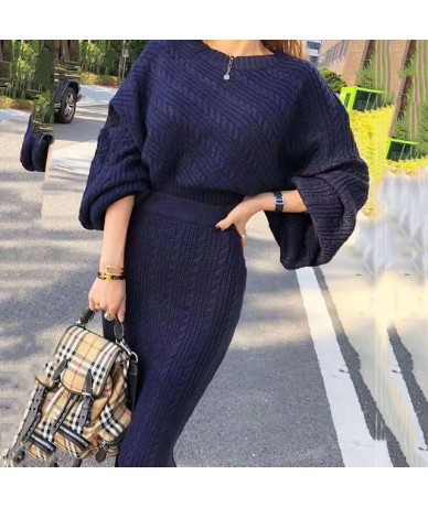 White Round Neck Lantern Long Sleeve Sweater High Waist Skirt Woman Suit Casual Simple Fashion 2019 Winter New TD277 - cream...