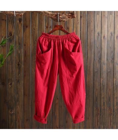 pants women 2019 shirts sweatpants Loose Elastic Waist Casual Ankle-Length Pants Flat Harem Pants Solid 2469 50 - Red - 4630...