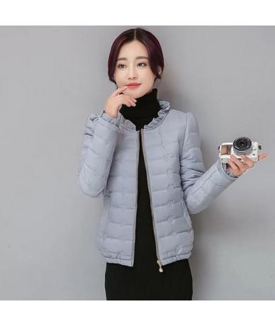 Spring down Cotton Woman Coats 2018 Plus size Short Slim Warm Cotton Coats Fashion Thin Long Sleeve Jacket Female 432 - gray...