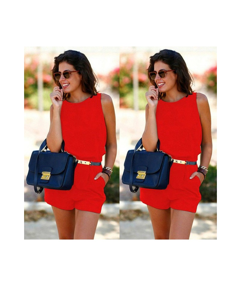 Women Summer Playsuit Bodycon Clubwear Evening Party Jumpsuit Romper Trousers - Red - 4000055737288