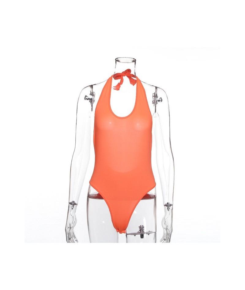 summer women bodysuit backless sexy festival clothes elegant body streetwear one piece rompers hanging neck ladies - Orange ...