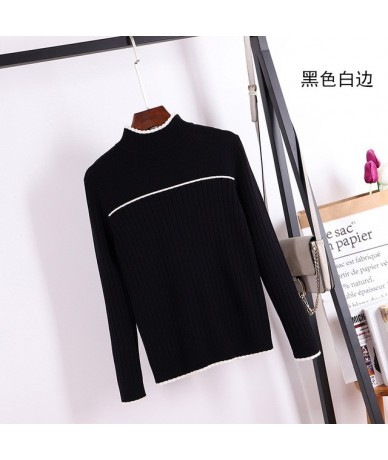 High Quality Thick Striped Women Sweater Color Block Ribbed Knitted Pullover jumper Autumn Winter Warm Female Sweater - blac...