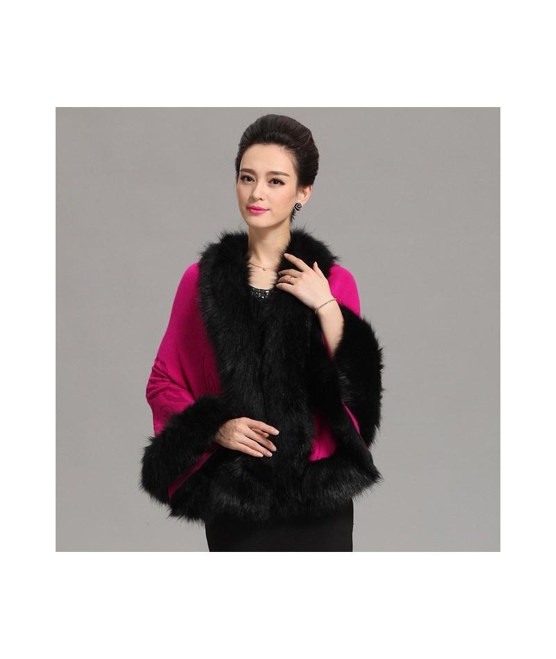 Autumn Winter Women's Long Cardigans Fake Fox Fur Collar Cashmere Sweaters Shawl Knitted Cardigan Poncho Cape Big Yards Q6-5...