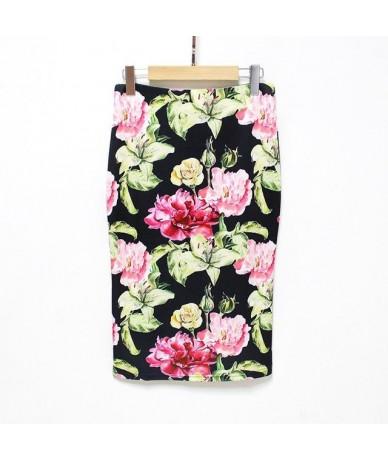 2018 New Arrival Sexy & Club Floral Pencil Skirt High Waist Vintage Bodycon Mini Skirt Women Black Skirt - 115 - 4B3971666534-7