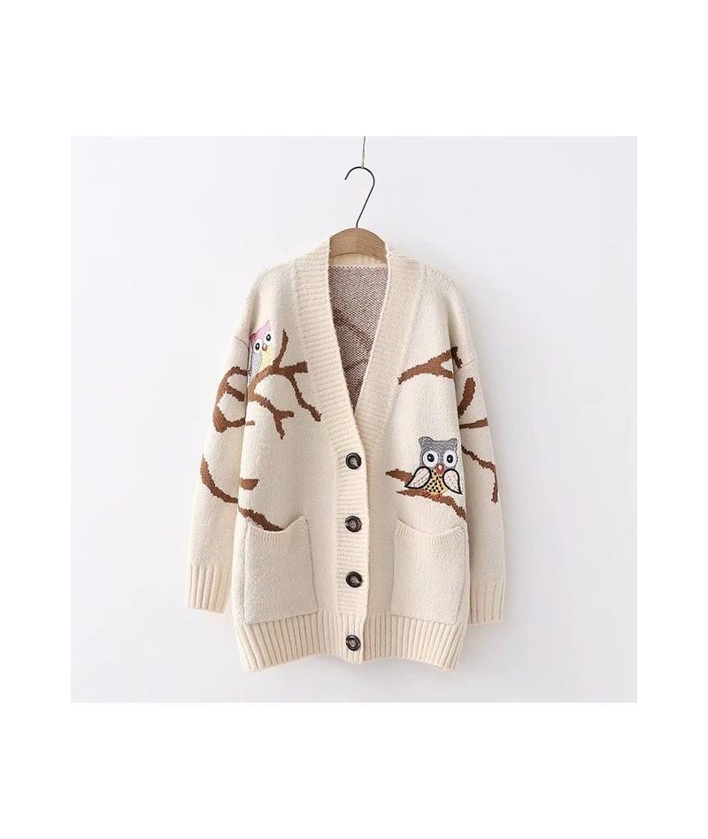 female New arrival sweater 2019 autumn winter fashion women cardigan animal print knit outerwear beige blue red - Beige - 42...
