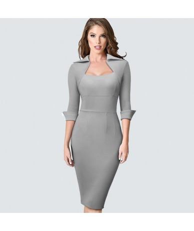Autumn Professional Women Formal Sheath Bodycon Slim Elegant Work Business Office Lady Dress HB471 - Gray - 4Q3059283114-2